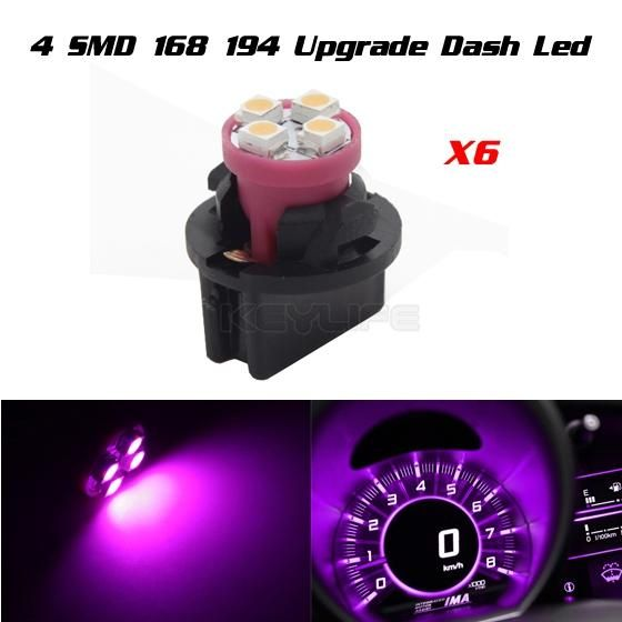 Partsam 6 Pack PC161 Twist Lock Gauge Instrument Panel Lights T10 LED Bulbs Pink Purple