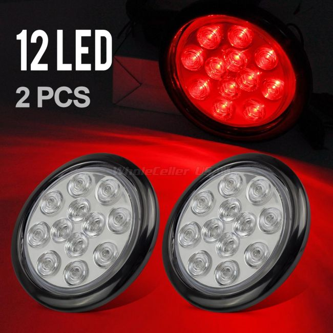 Partsam 2pcs 4 U0026quot  Inch Round Red Led Trailer Tail Lights 12led Clear Lens Flush Mount Marker