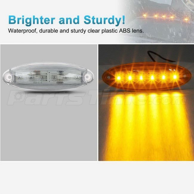 Amber LED Roof Cab Clearance Truck Bus Marker Light Flush Mount for Freightliner